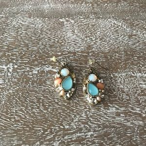Anthropologie Mixed Stone & Pearl Earrings Gold